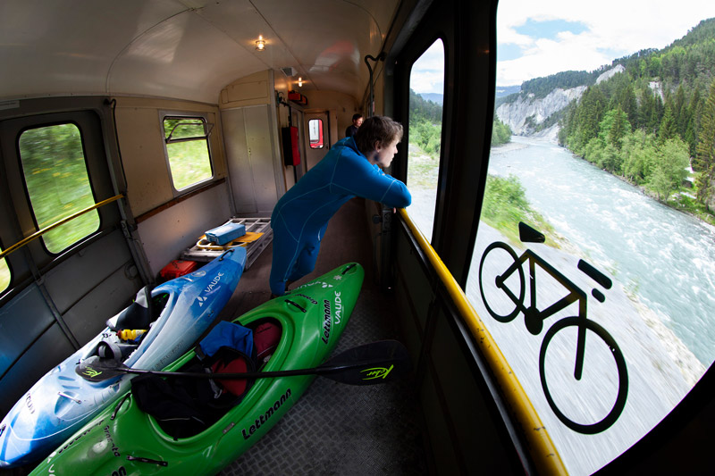 Sometimes life is easy; using the train for shuttle on the Flimser Schlucht in Graubünden, Switzerland.